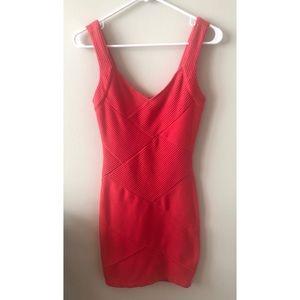 Forever 21 Bright Salmon Bodycon Mini Dress